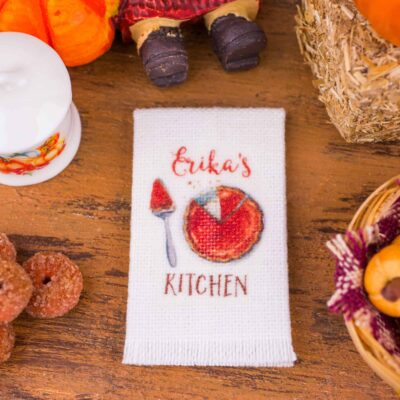 Dollhouse Miniature Personalized Pumpkin Pie Tea Towel - 1:12 Dollhouse Miniature - Fall Miniatures