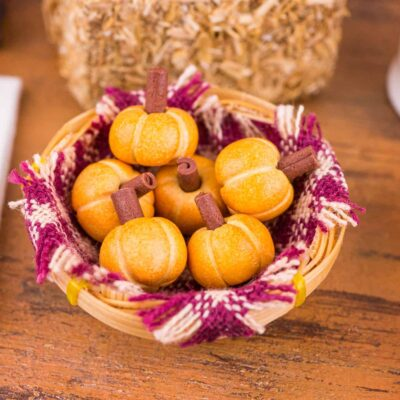 Dollhouse Miniature Basket of Pumpkin Rolls - 1:12 Dollhouse Miniature - Fall Miniatures