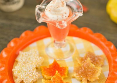 Pumpkin Spice Pudding with Maple Leaf Sugar Cookies on Tray