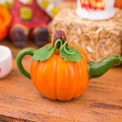 Dollhouse Miniature Autumn Pumpkin Teapot - 1:12 Dollhouse Miniature - Fall Miniatures