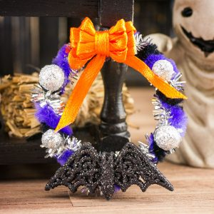 Purple and Black Batty Halloween Wreath