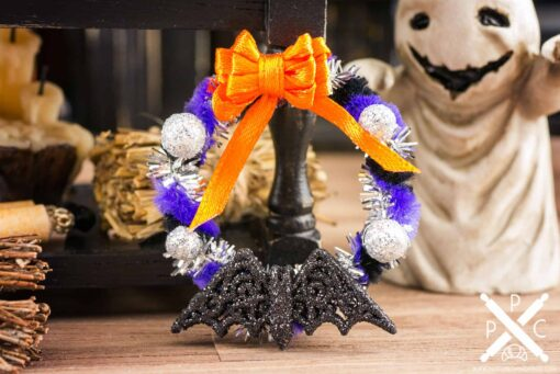 Dollhouse Miniature Purple and Black Batty Halloween Wreath