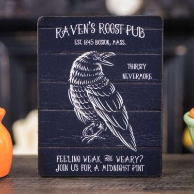 Dollhouse Miniature Raven's Roost Pub Sign - Decorative Halloween Sign - 1:12 Dollhouse Miniature Halloween Sign