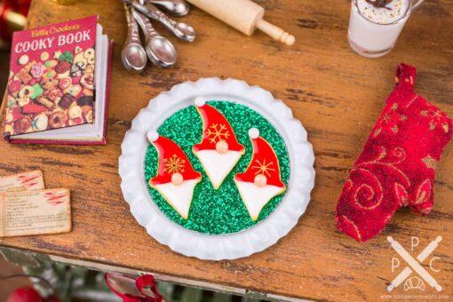 Dollhouse Miniature Red Christmas Gnome Cookies on Tray - 1:12 Dollhouse Miniature Christmas Cookies