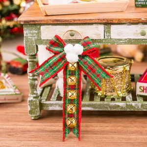 Red and Green Plaid Sleigh Bell Hanger
