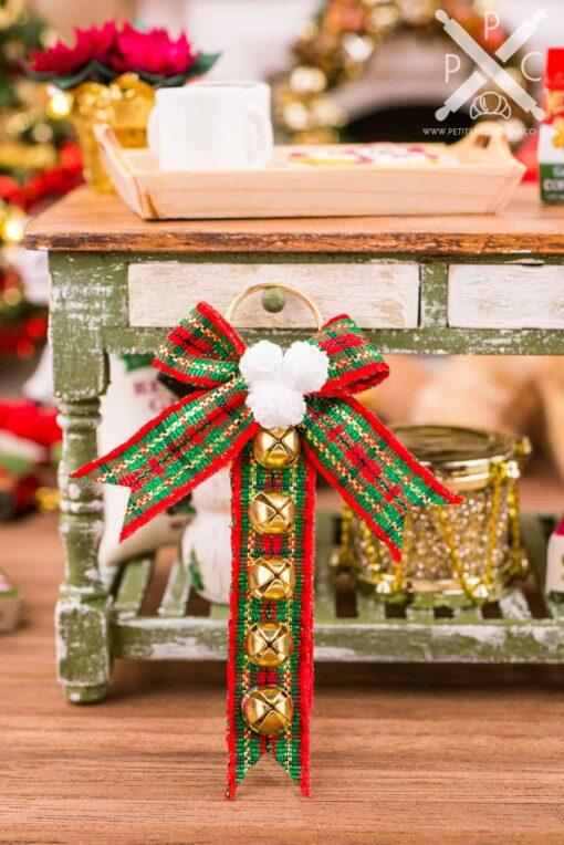 Dollhouse Miniature Red and Green Plaid Sleigh Bell Hanger - 1:12 Dollhouse Miniature Christmas Decoration - Christmas Miniatures