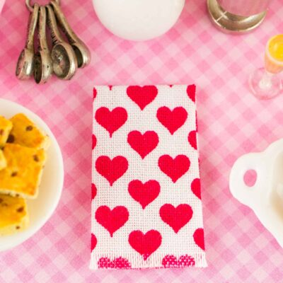 Dollhouse miniature red hearts tea towel