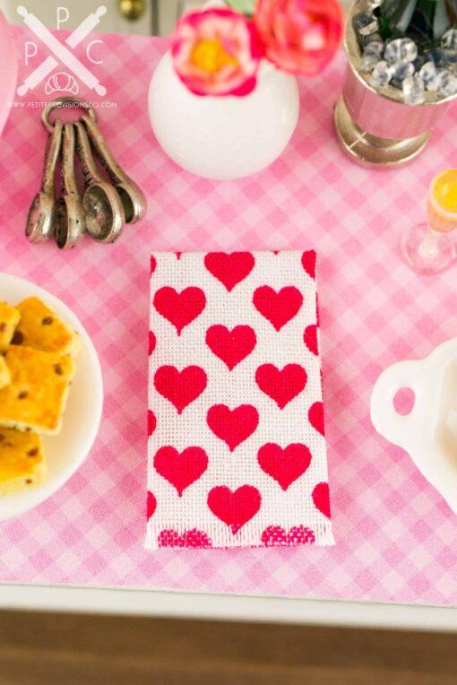 Dollhouse miniature red hearts tea towel