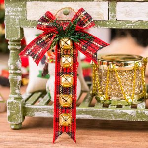 Red Plaid Sleigh Bell Hanger