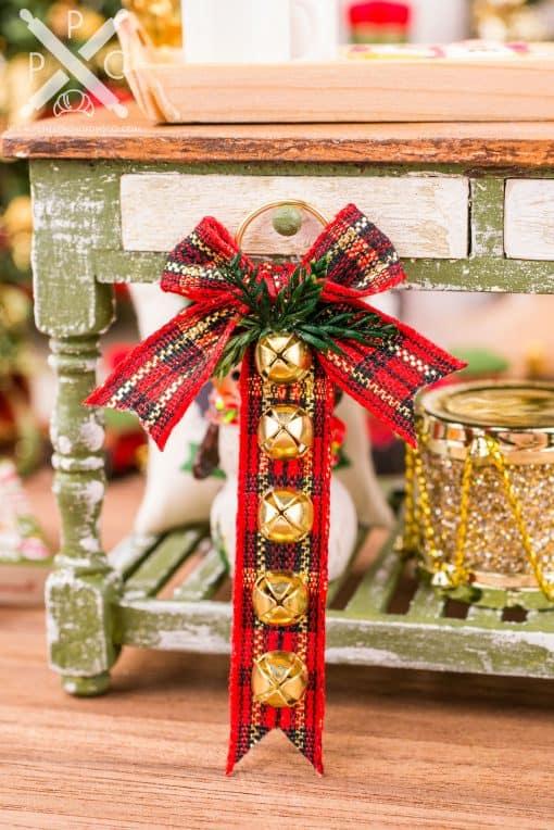Dollhouse Miniature Red Plaid Sleigh Bell Hanger - 1:12 Dollhouse Miniature Christmas Decoration - Christmas Miniatures