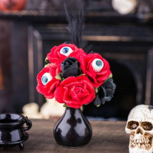 Blood Red Roses with Eyeballs in Vase