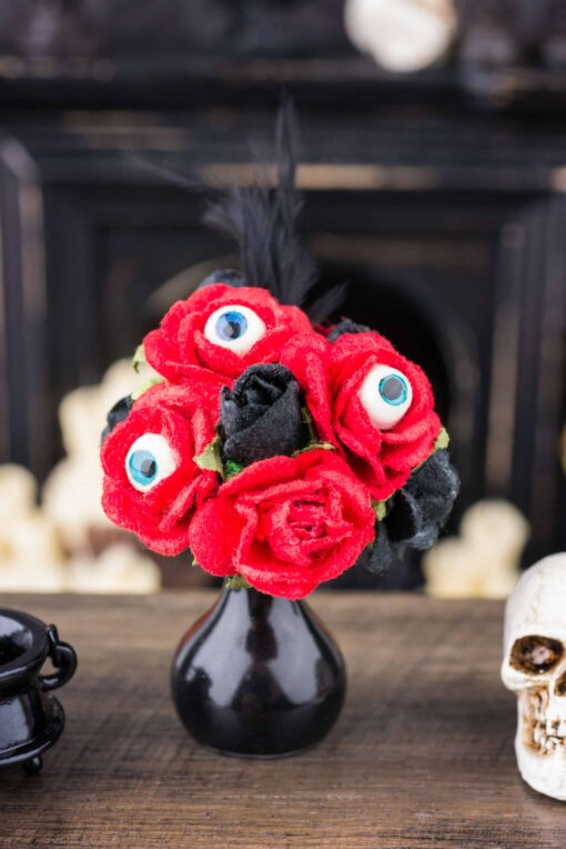 Dollhouse Miniature Blood Red Roses with Eyeballs in Vase - Halloween Flower Arrangement- 1:12 Dollhouse Miniature Halloween Decoration