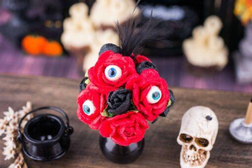 Dollhouse Miniature Blood Red Roses with Eyeballs in Vase - Halloween Flower Arrangement- 1:12 Dollhouse Miniature Halloween Decoration