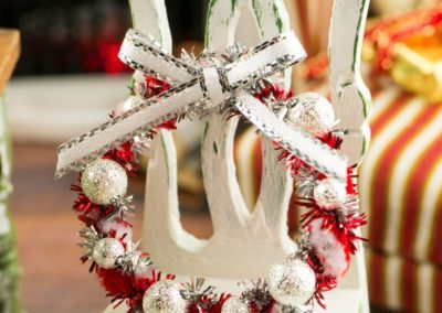 Red, White and Silver Tinsel Christmas Wreath