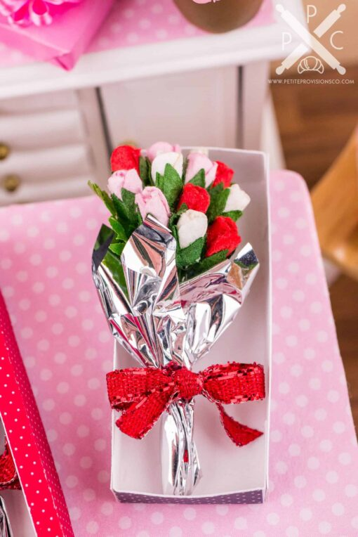 Dollhouse Miniature Red Valentine's Day Long Stemmed Rose Bouquet in Box - 1:12 Dollhouse Miniature Flowers
