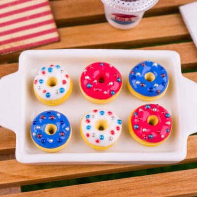 Dollhouse Miniature Red White and Blue 4th of July Doughnuts - Half Dozen Loose Doughnuts - 1:12 Dollhouse Miniature Doughnuts