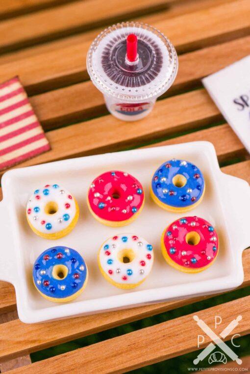Dollhouse Miniature Red White and Blue 4th of July Doughnuts - Half Dozen Loose Doughnuts - 1:12 Dollhouse Miniature Doughnuts