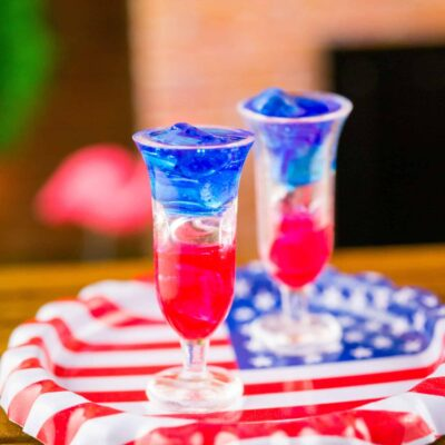 Dollhouse Miniature Red White and Blue 4th of July Hurricanes for Two on American Flag Tray - 1:12 Dollhouse Miniature 4th of July Cocktail