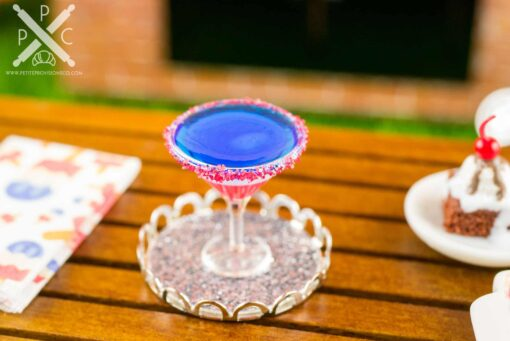 Dollhouse Miniature Red White and Blue 4th of July Martini on Tray - 1:12 Dollhouse Miniature 4th of July Cocktail