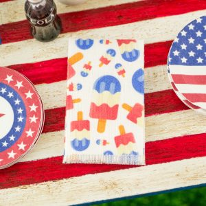 4th of July Red White and Blue Popsicles Tea Towel