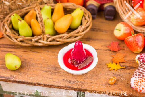 Dollhouse Miniature Red Wine Poached Pear - 1:12 Dollhouse Miniature Pear Dessert