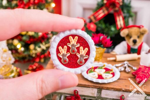 Dollhouse Miniature Reindeer Cookies on Tray - 1:12 Dollhouse Miniature Christmas Cookies