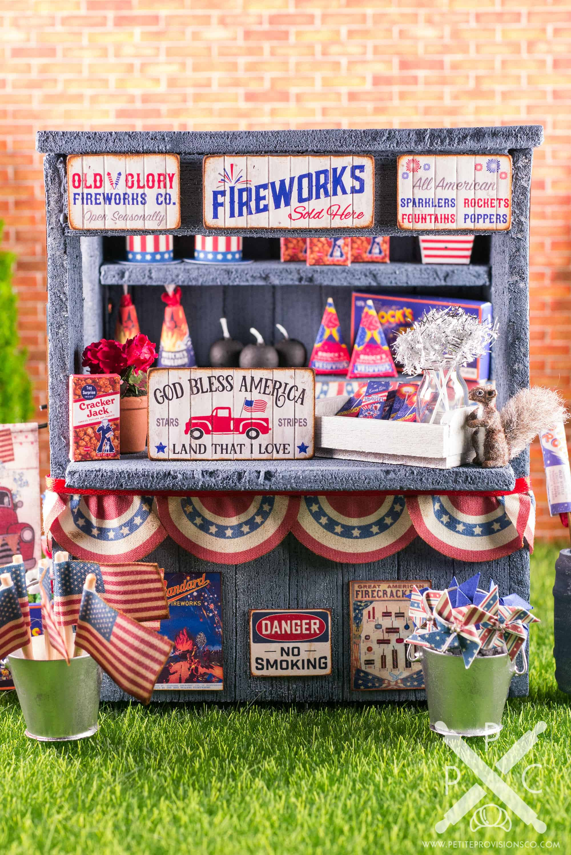 Dollhouse Miniature Roadside Fireworks Stand by The Petite Provisions Co.