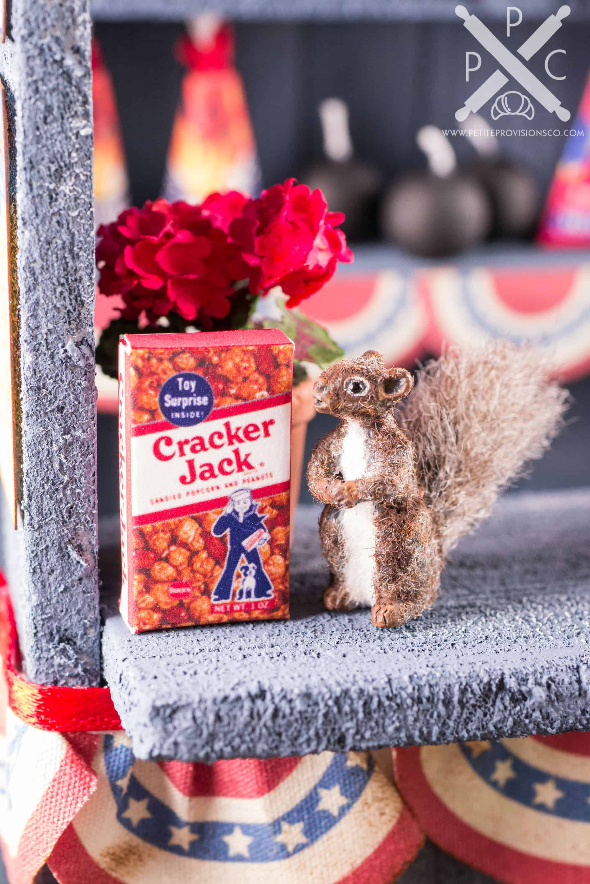 Dollhouse Miniature Roadside Fireworks Stand by The Petite Provisions Co. - Mini Squirrel and Cracker Jack Box