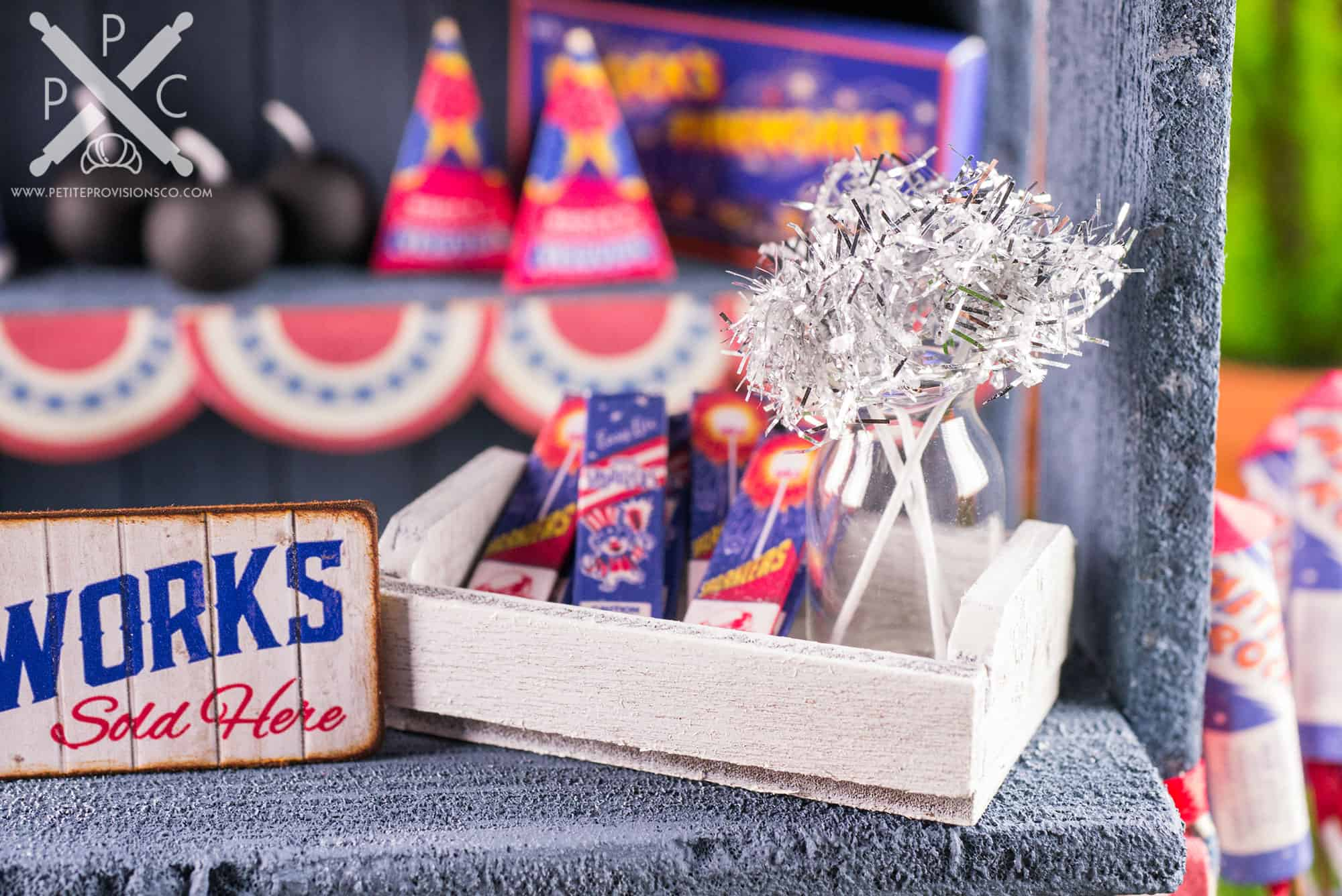 Dollhouse Miniature Roadside Fireworks Stand by The Petite Provisions Co. - Mini Sparklers