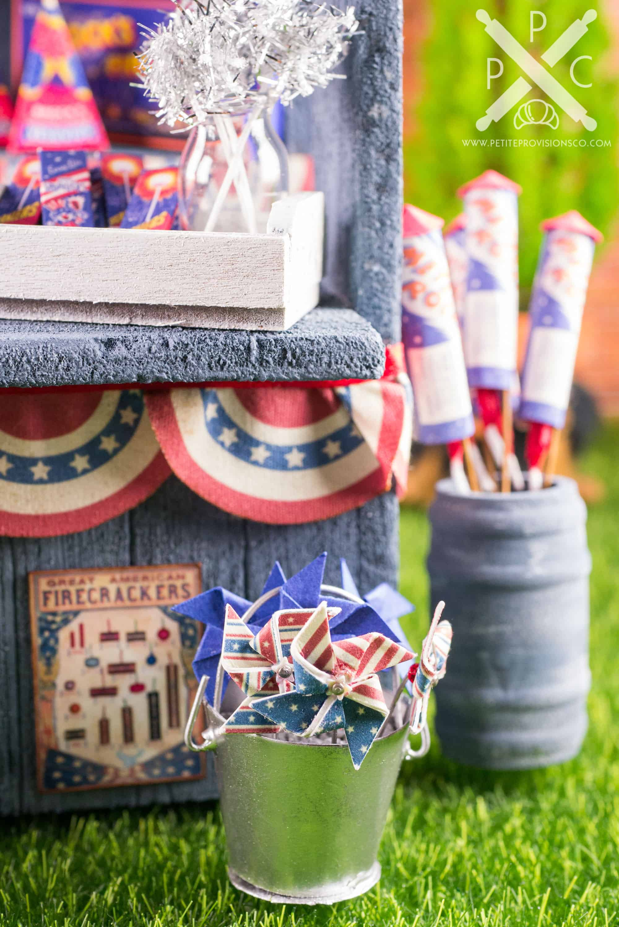 Dollhouse Miniature Roadside Fireworks Stand by The Petite Provisions Co. - Mini Pinwheels