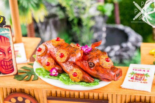 Dollhouse Miniature Luau Pig Roast - Whole Roasted Pig - Kalua Pig - 1:12 Dollhouse Miniature