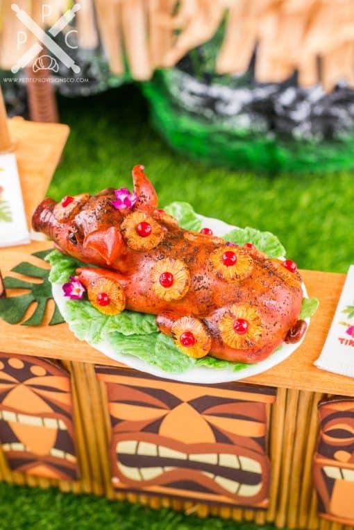 Dollhouse Miniature Luau Pig Roast - Whole Roasted Pig - Kalua Pig - 1:12 Dollhouse Miniature
