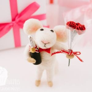 Romeo the Needle Felted Mouse with Valentine's Day Bouquet and Champagne
