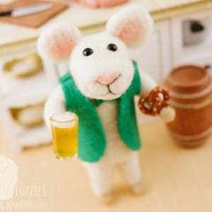 Rory the Needle Felted Mouse with St. Patrick's Day Beer and Soft Pretzel
