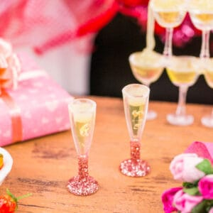 Champagne for Two in Rose Gold Glitter Flutes