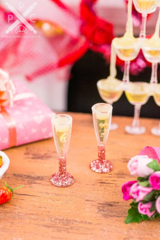 Dollhouse Miniature Champagne for Two in Rose Gold Glitter Flutes - 1:12 Dollhouse Miniature Valentine's Day