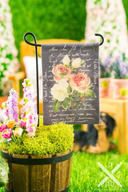 Dollhouse Miniature Rose Bouquet Chalkboard Spring Garden Flag
