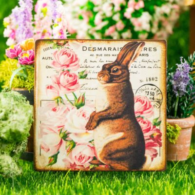 Dollhouse Miniature Rabbit and Pink Roses Easter Sign