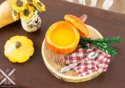 Rustic Pumpkin Soup Tureen with Pine Cone & Bough