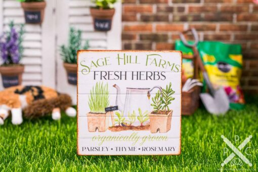 Dollhouse Miniature Sage Hill Farms Sign - Decorative Spring Sign - 1:12 Dollhouse Miniature Garden Sign