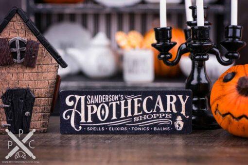 Dollhouse Miniature Sanderson's Apothecary Shoppe Sign - Decorative Halloween Sign - 1:12 Dollhouse Miniature - Halloween Miniatures