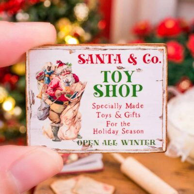 Dollhouse Miniature Santa & Co. Toy Shop Sign - 1:12 Dollhouse Miniature Christmas Sign