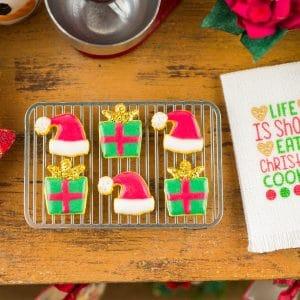 Santa Hats and Christmas Gifts Cookies – Half Dozen