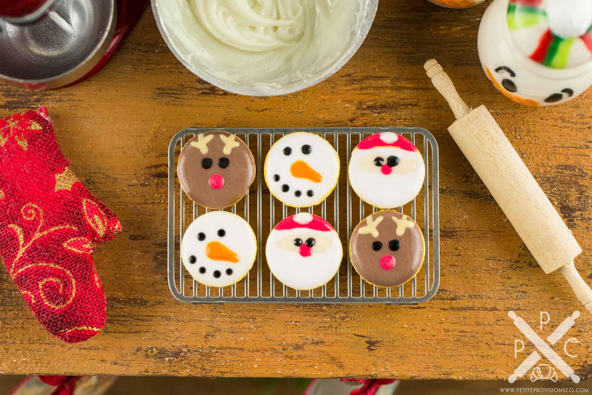 Santa Snowman And Reindeer Cookies Half Dozen