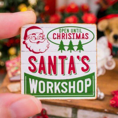 Dollhouse Miniature Santa's Workshop Sign - 1:12 Dollhouse Miniature Christmas Sign