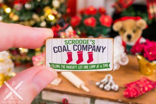 Dollhouse Miniature Scrooge's Coal Company Sign - 1:12 Dollhouse Miniature Christmas Sign