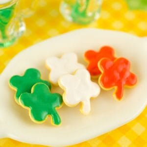St. Patrick's Day Shamrock Cookies – Half Dozen – 1:12 Dollhouse Miniature