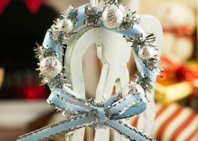 Blue and Silver Tinsel Christmas Wreath