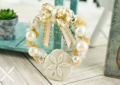 Sparkly Silver and Ivory Sand Dollar Wreath