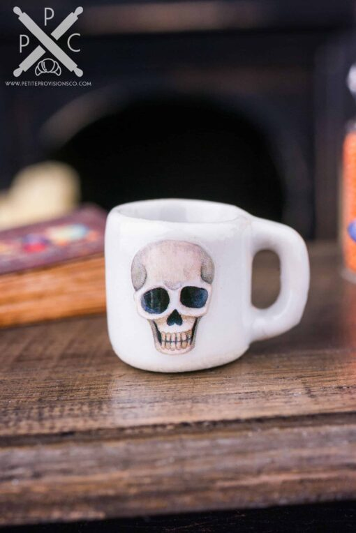 Dollhouse Miniature Skull Halloween Mug